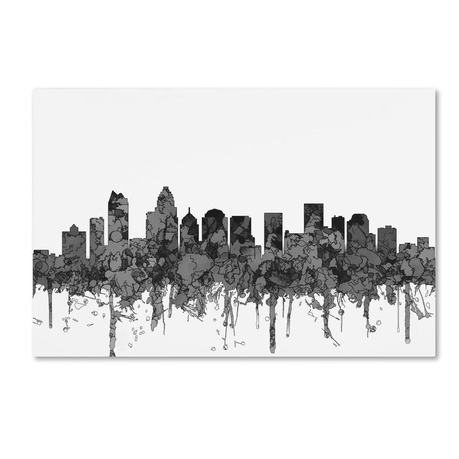 Trademark Fine Art Marlene Watson Charlotte Nc Skyline Bw 22x32 Canvas Art In The Wall Art Department At Lowes Com