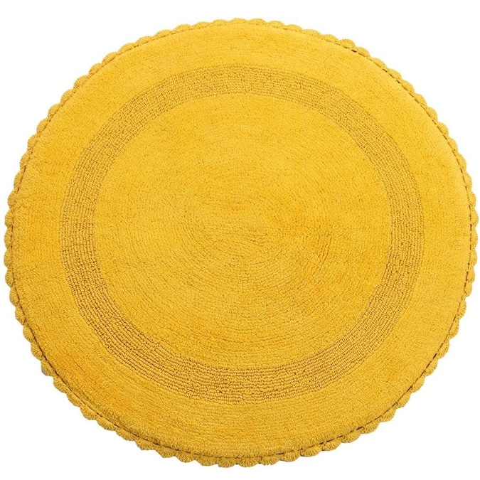 Saffron Fabs Crochet Lace 36 In X 36 In Yellow Cotton Bath Rug In The Bathroom Rugs Mats Department At Lowes Com