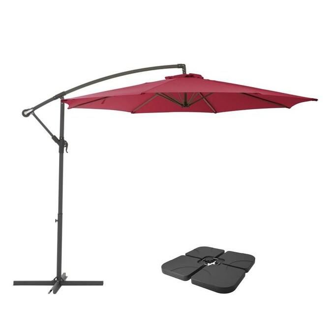 Corliving 9 5 Ft Solid Wine Red No Tilt Cantilever Patio Umbrella With Base In The Patio Umbrellas Department At Lowes Com