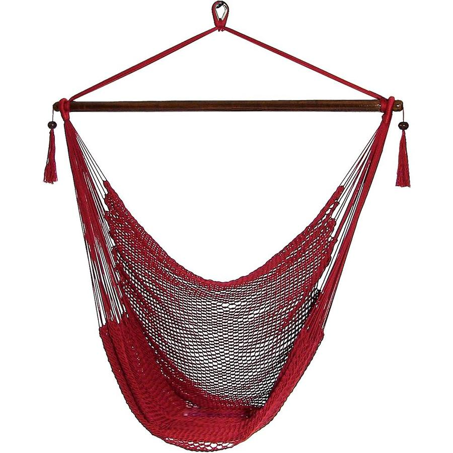 Sunnydaze Decor Hanging Rope Hammock Chair Swing Extra Large Caribbean Red For Indoor Or Outdoor Patio Yard Porch And Bedroom In The Hammocks Department At Lowes Com