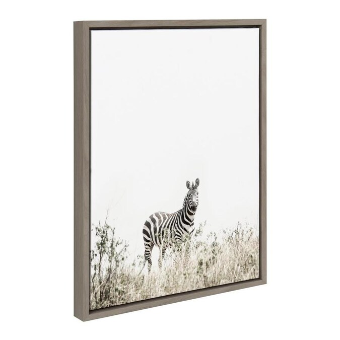 Kate And Laurel Sylvie Zebra In Tall Grass Framed Canvas Wall Art By Amy Peterson 18x24 Gray Black And White Home Decor In The Wall Art Department At Lowes Com