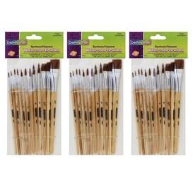 Wood Brushes Natural Hog Bristles 12 Round//12 Flat by Creativity Street