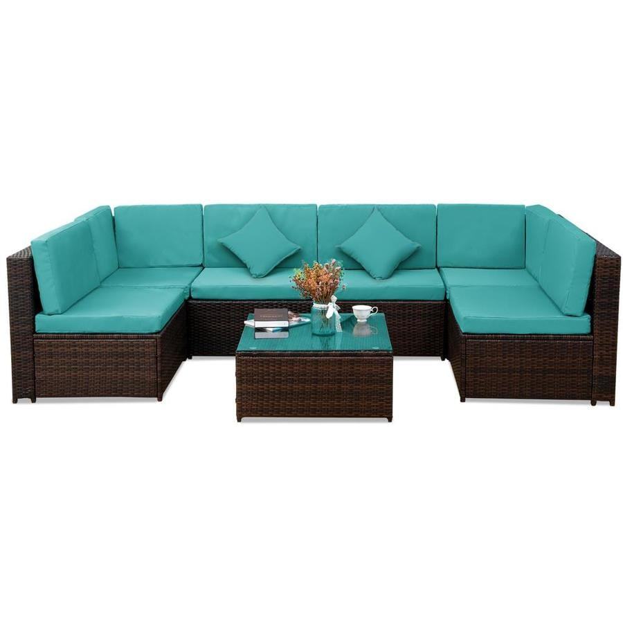 Kinwell Kinwell Outdoor Patio Furniture 7 Piece Resin Frame Patio Conversation Set With Cushions In The Patio Conversation Sets Department At Lowes Com