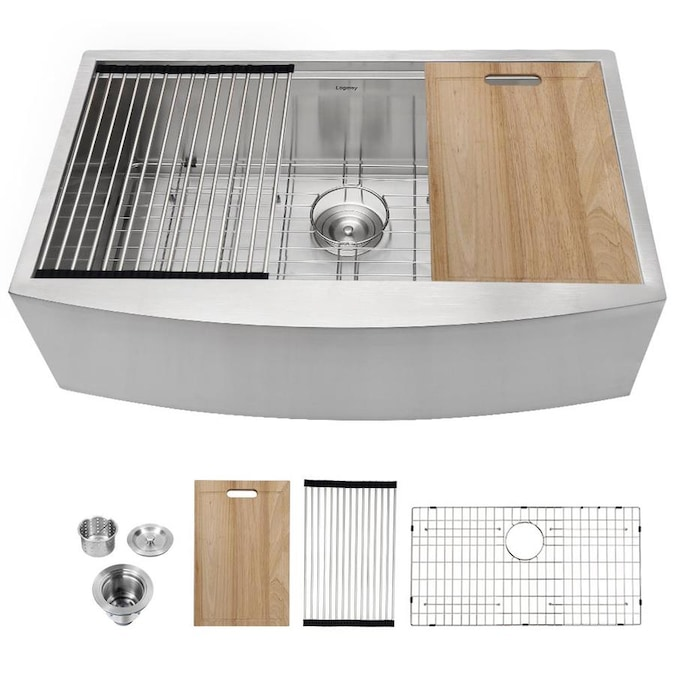 Matrix Decor Kichten Sink 36 In X 21 In Stainless Single Bowl Undermount Apron Front Farmhouse Residential Workstation Kitchen Sink In The Kitchen Sinks Department At Lowes Com