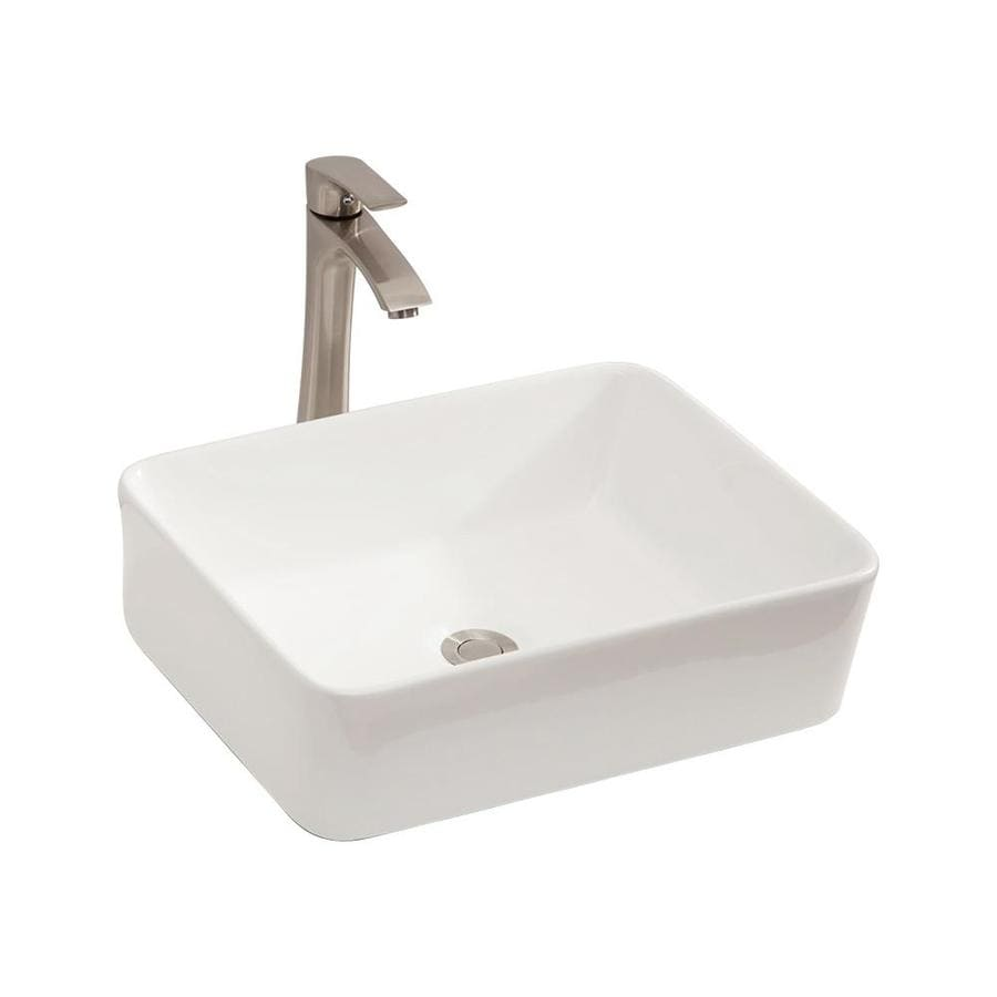 Matrix Decor White Ceramic Vessel Rectangular Bathroom Sink With Faucet 19 In X 15 In In The Bathroom Sinks Department At Lowes Com