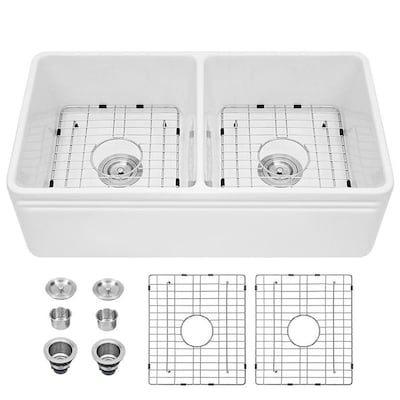 Drop In Apron Front Farmhouse White Kitchen Sinks At Lowes Com
