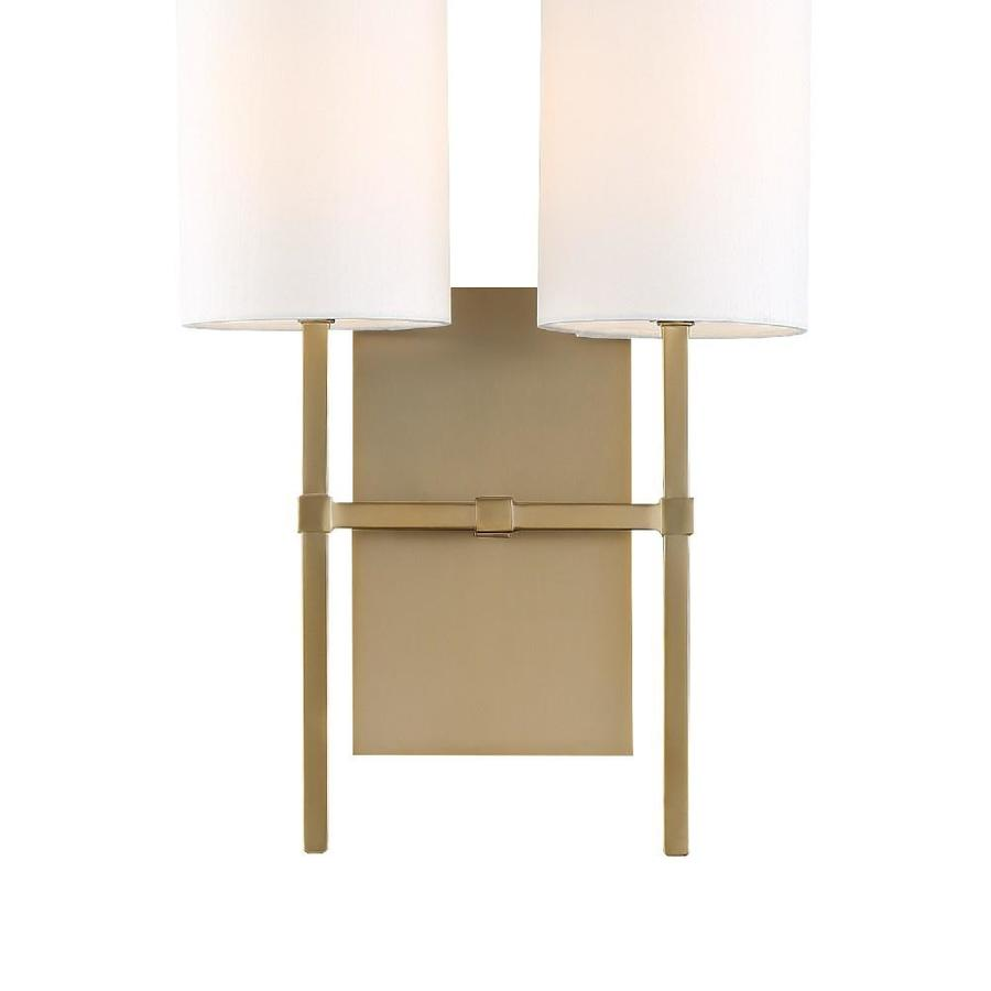 Crystorama Veronica 11 In W 2 Light Aged Brass Modern Contemporary Wall Sconce In The Wall Sconces Department At Lowes Com
