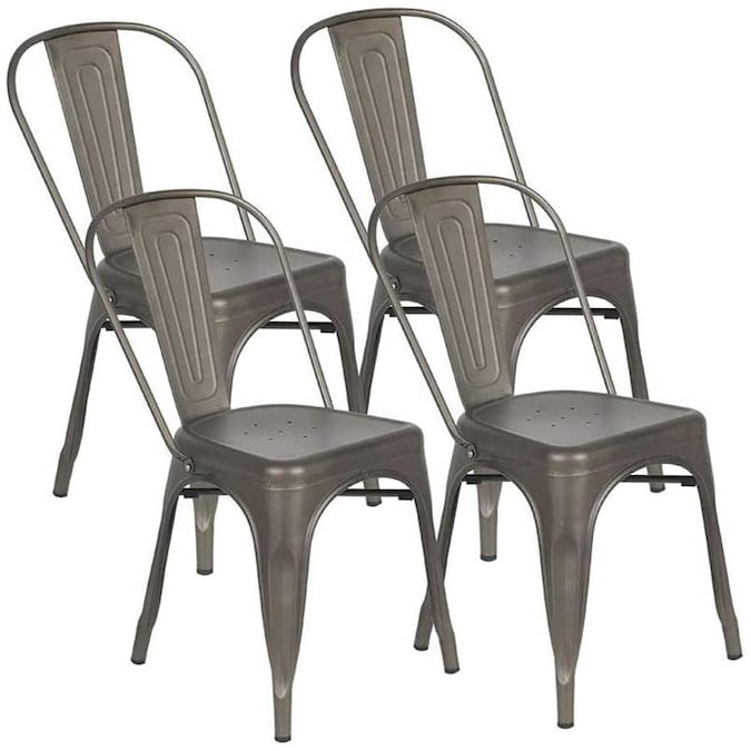 Casainc Gun Metal Dining Chairs Stackable Side Chairs With Back Indoor Outdoor Use Chair For Farmhouse Patio Restaurant Kitchen Set Of 4 In The Patio Chairs Department At Lowes Com