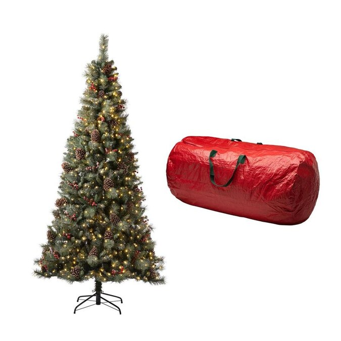 Glitzhome 7.5-ft Pre-Lit Flocked Artificial Christmas Tree ...