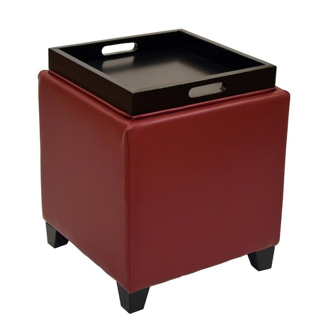 armen living rainbow modern red faux leather storage