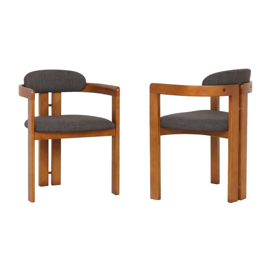 Armen Living Jazmin Contemporary Modern Polyester Polyester Blend Upholstered Dining Arm Chair Wood Frame In The Dining Chairs Department At Lowes Com
