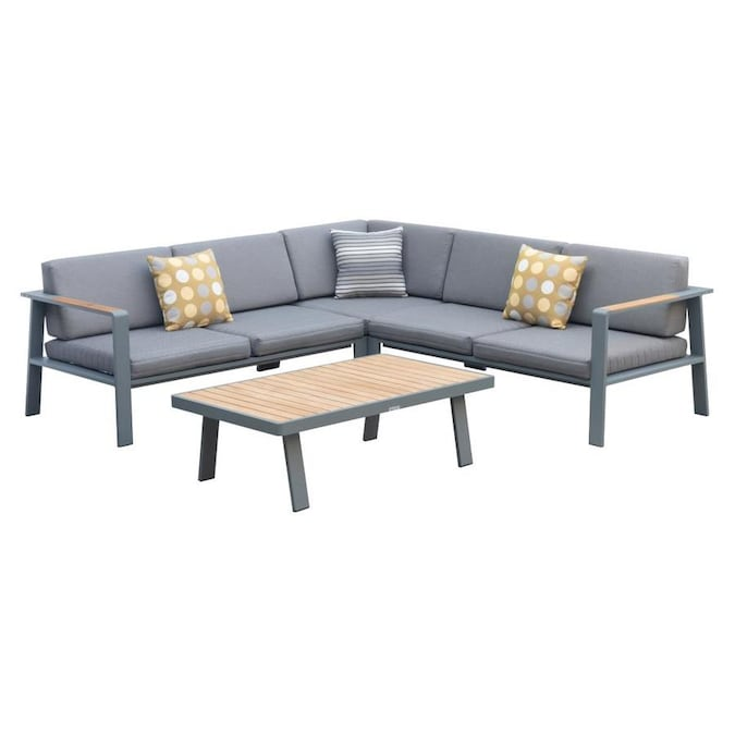 Armen Living Nofi Outdoor Patio Sectional Set In Gray Finish With Gray Cushions And Teak Wood In The Patio Conversation Sets Department At Lowes Com