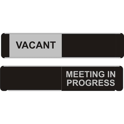 MEETING IN PROGRESS WITH SLIDER SLIDING ENTRY SYSTEM SIGN VACANT
