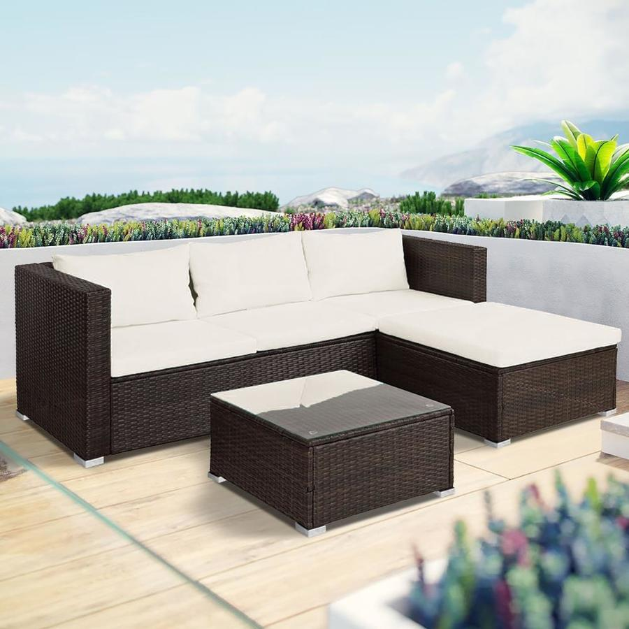 Casainc Outdoor Patio Furniture Set 5 Piece Rattan Sectional Chair All Weather Black Wicker Connected Conversation Set With Glass Table Grey Wicker And Beige Cushions In The Patio Conversation Sets Department At