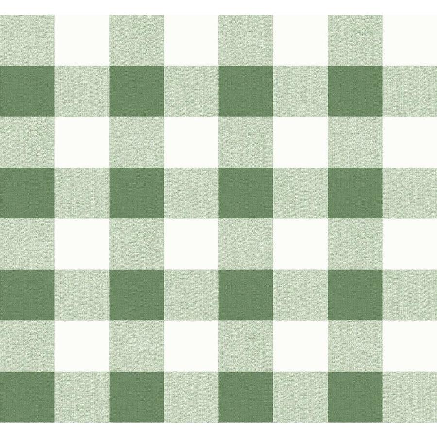 Seabrook Designs Beach House 60 75 Sq Ft Greenery Paper Plaid Unpasted Wallpaper In The Wallpaper Department At Lowes Com