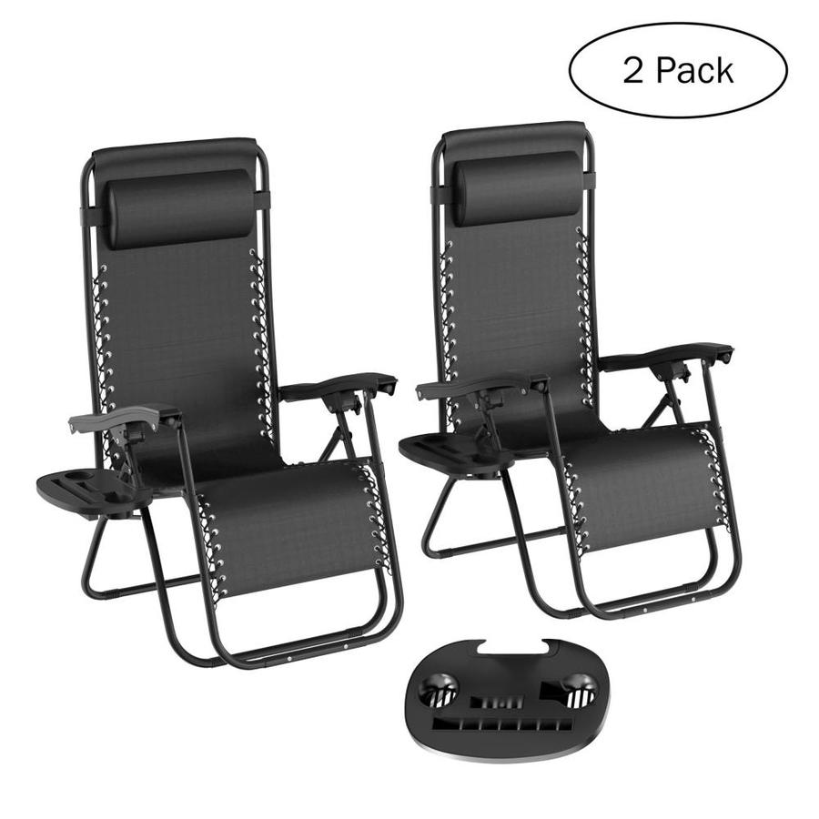 Hastings Home Zero Gravity Chairs Set Of 2 Black Metal Frame Swivel Zero Gravity Chair S With Solid Seat In The Patio Chairs Department At Lowes Com