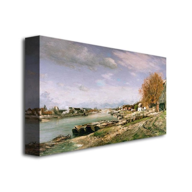 Trademark Fine Art Jean Baptiste Guillamin The Old Quay At Bercy 30x47 Canvas Art In The Wall Art Department At Lowes Com