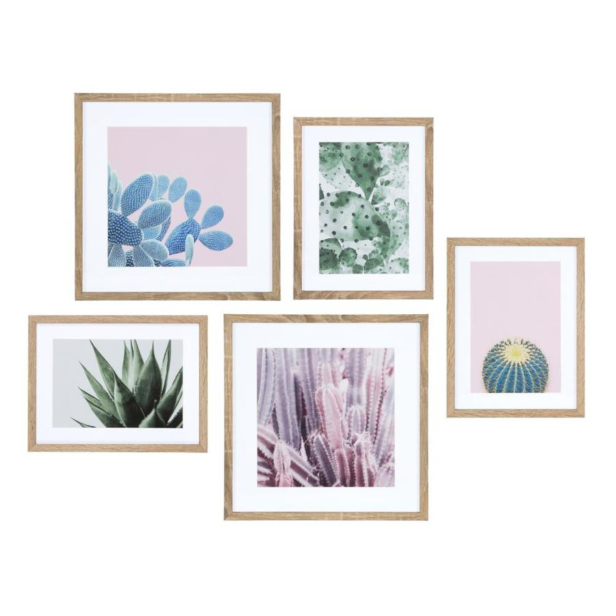 Kate And Laurel Modern Cactus Framed Wall Art Set 5 Piece Natural In The Wall Art Department At Lowes Com