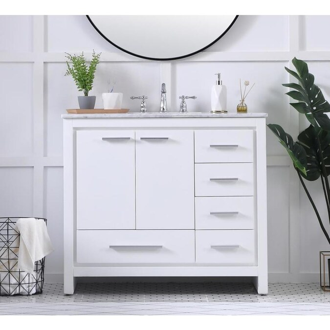 Elegant Decor First Impressions 40-in White Single Sink ...