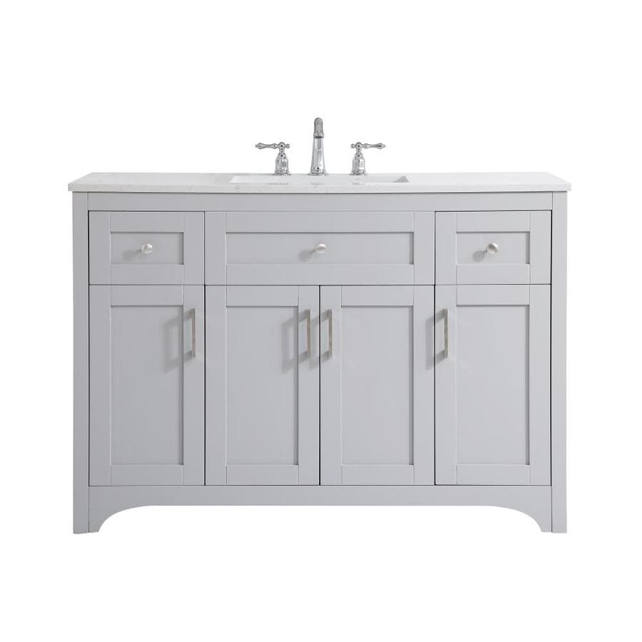 Elegant Decor First Impressions 48 In Gray Undermount Single Sink Bathroom Vanity With Calacatta Quartz Top In The Bathroom Vanities With Tops Department At Lowes Com