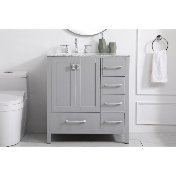 Elegant Decor First Impressions 32-in Grey Single Sink ...