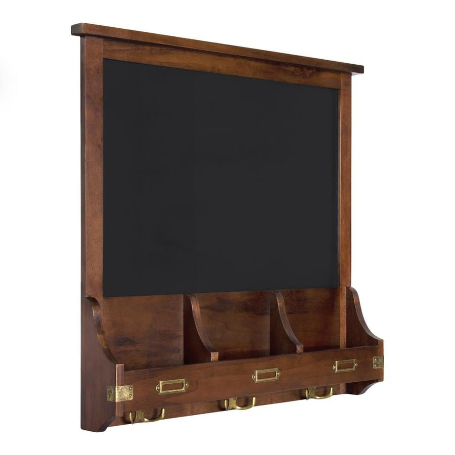 Kate And Laurel Stallard Wood Wall Chalkboard With Hooks 24x24 Walnut Brown In The Memo Boards Department At Lowes Com