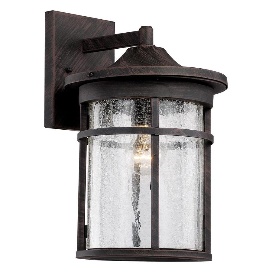 Lucid Lighting 17 75 In Transitional 1 Light Outdoor Wall Lantern Cylindrical Shade Clear Crackled Glass Durable Metal Housing Awning Roof Detail Square Wall Plate Simple Elegance Complements Various Exterior Styles In The Outdoor Wall