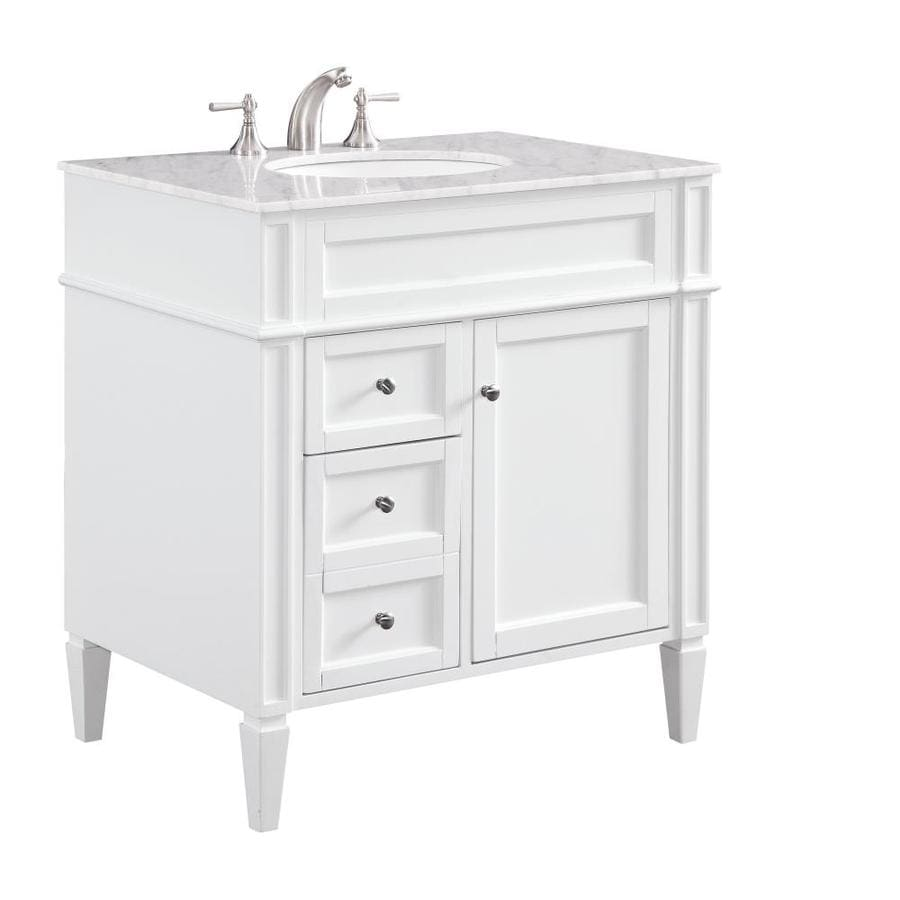 Elegant Decor First Impressions 32 In White Undermount Single Sink Bathroom Vanity With White Carara Marble Top In The Bathroom Vanities With Tops Department At Lowes Com