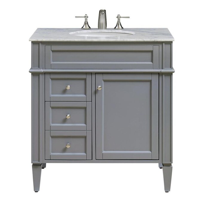 Elegant Decor First Impressions 32 In Gray Undermount Single Sink Bathroom Vanity With White Carara Marble Top In The Bathroom Vanities With Tops Department At Lowes Com