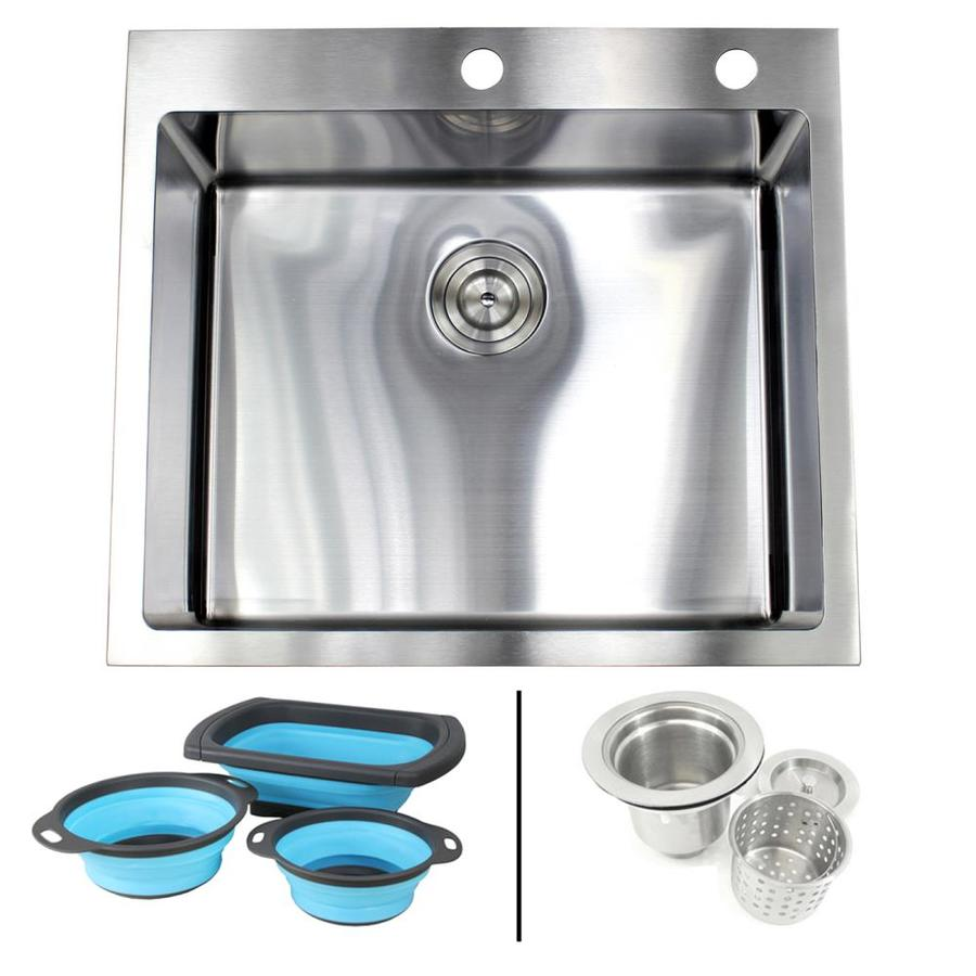 Emoderndecor Ariel Drop In 25 In X 22 In Stainless Steel Single Bowl 2 Hole Kitchen Sink In The Kitchen Sinks Department At Lowes Com