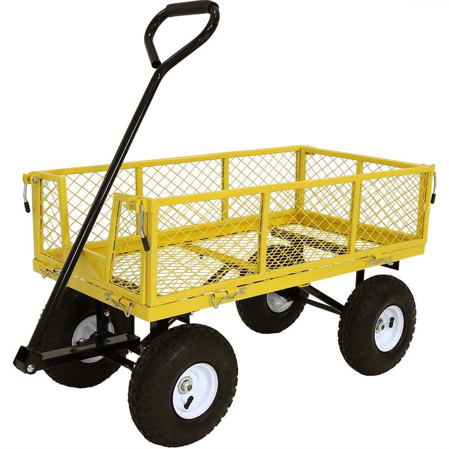 Sunnydaze Decor Utility Steel Garden Cart Outdoor Lawn Wagon with Removable  Sides Heavy-Duty 12 Pound Capacity Yellow