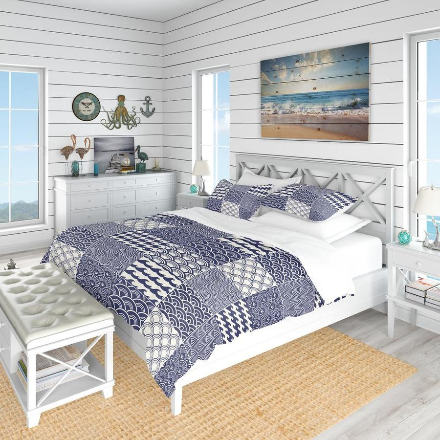 designart 3 piece blue twin duvet cover set in the bedding sets department at lowes com