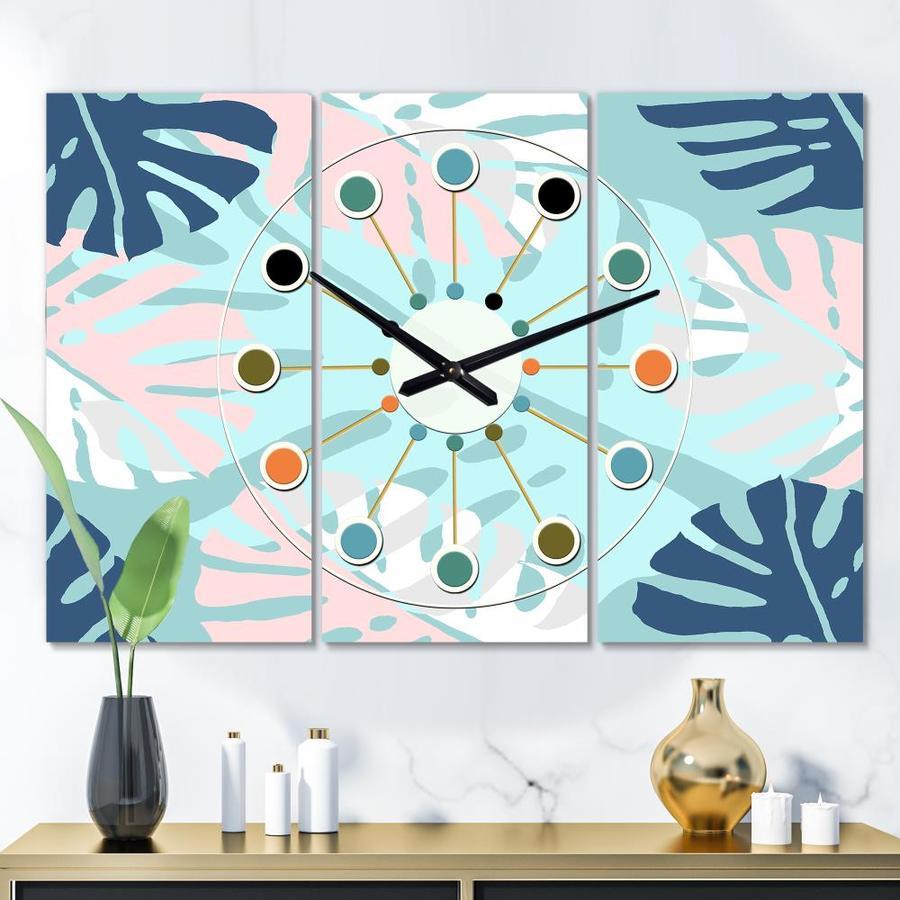 Designart Designart Retro Floral Pattern Ii Oversized Mid Century Modern 3 Panels Wall Clock In The Clocks Department At Lowes Com