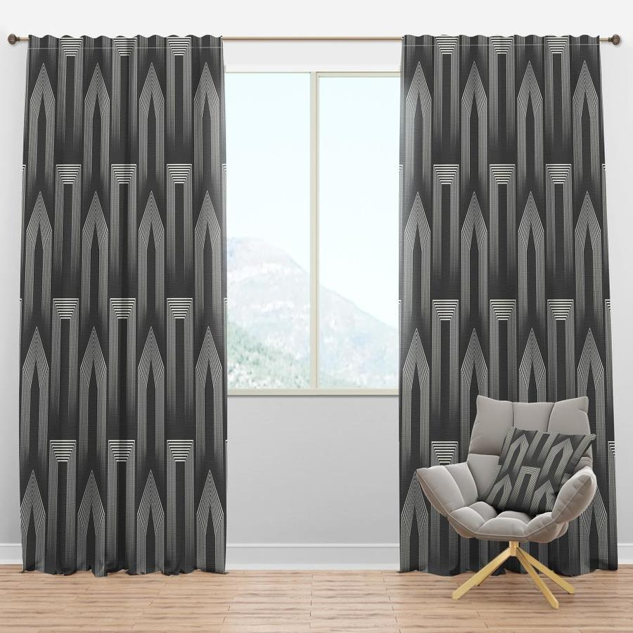 Designart 95 In Grey Polyester Room Darkening Thermal Lined Rod Pocket Single Curtain Panel In The Curtains Drapes Department At Lowes Com