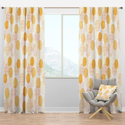 Designart 95 In Gold Polyester Room Darkening Thermal Lined Rod Pocket Single Curtain Panel In The Curtains Drapes Department At Lowes Com