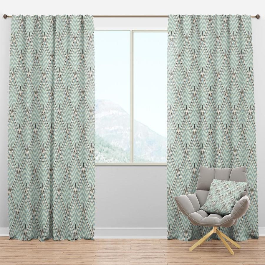 Designart 84 In Turquoise Polyester Room Darkening Thermal Lined Rod Pocket Single Curtain Panel In The Curtains Drapes Department At Lowes Com