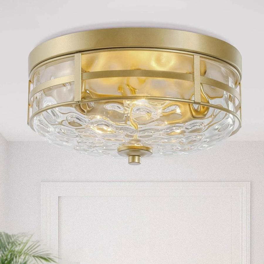 New World Decor Maraca 12 5 In Gold Modern Contemporary Led Semi Flush Mount Light In The Flush Mount Lighting Department At Lowes Com