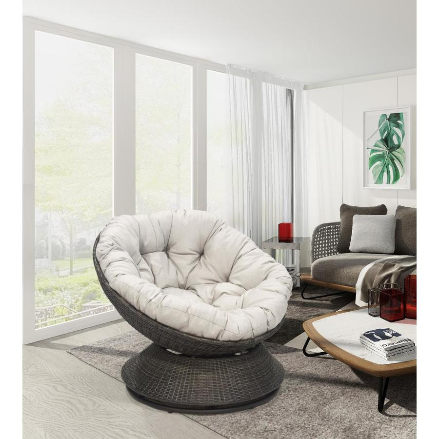 Donglin Furniture Ac Milan Egg Chair Antique Gray Papasan Chair In The Chairs Department At Lowes Com