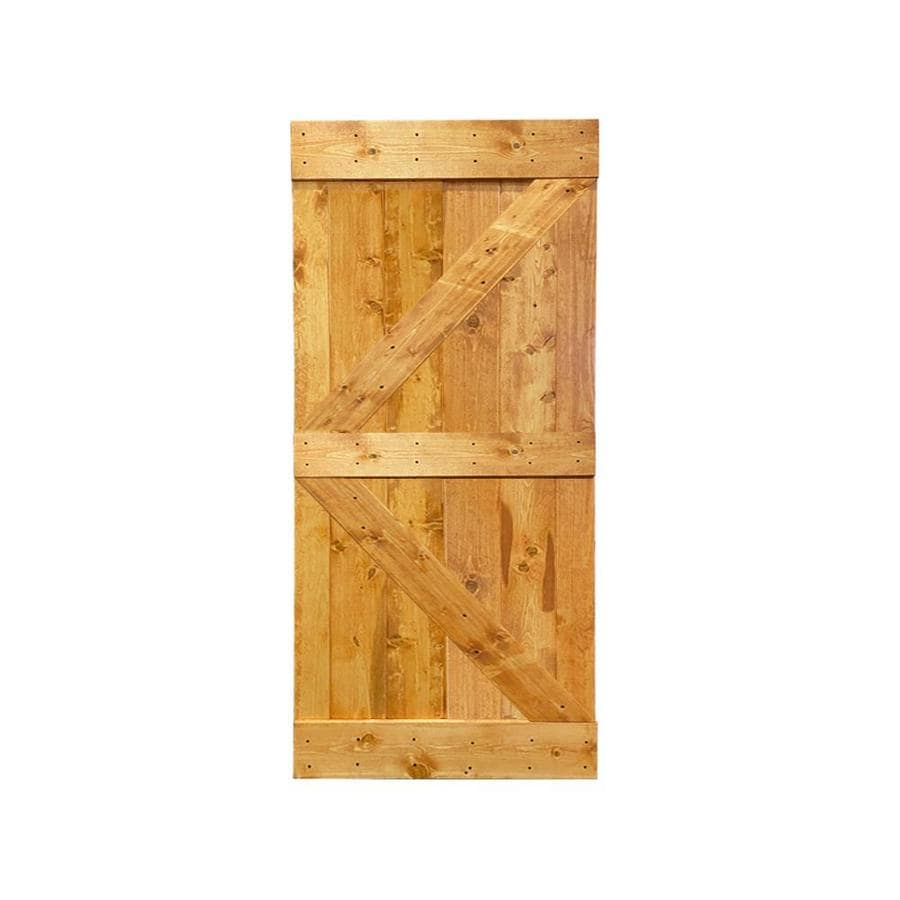 Calhome K Series 30 In X 84 In Colonial Maple 2 Panel Stained Pine Wood Single Barn Door In The Barn Doors Department At Lowes Com