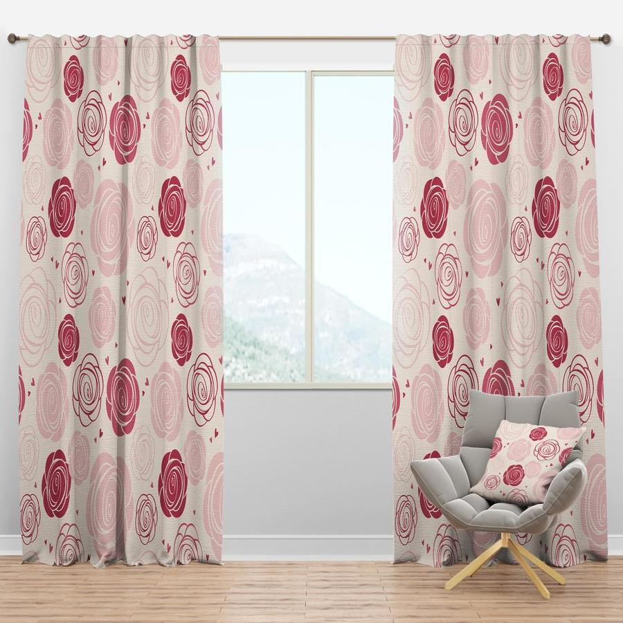 Designart 90 In Pink Polyester Room Darkening Thermal Lined Single Curtain Panel In The Curtains Drapes Department At Lowes Com