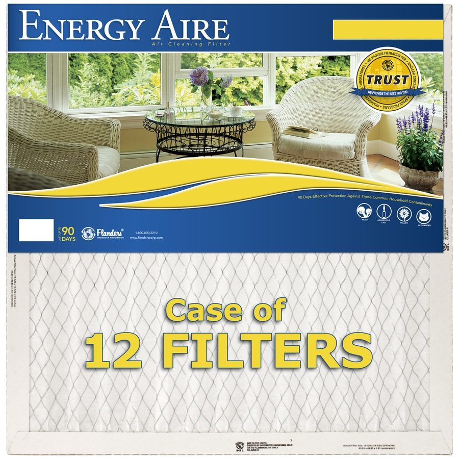 Energy Aire 12-Pack 19-1/2-in x 35-1/2-in x 1-in Pleated Air Filters