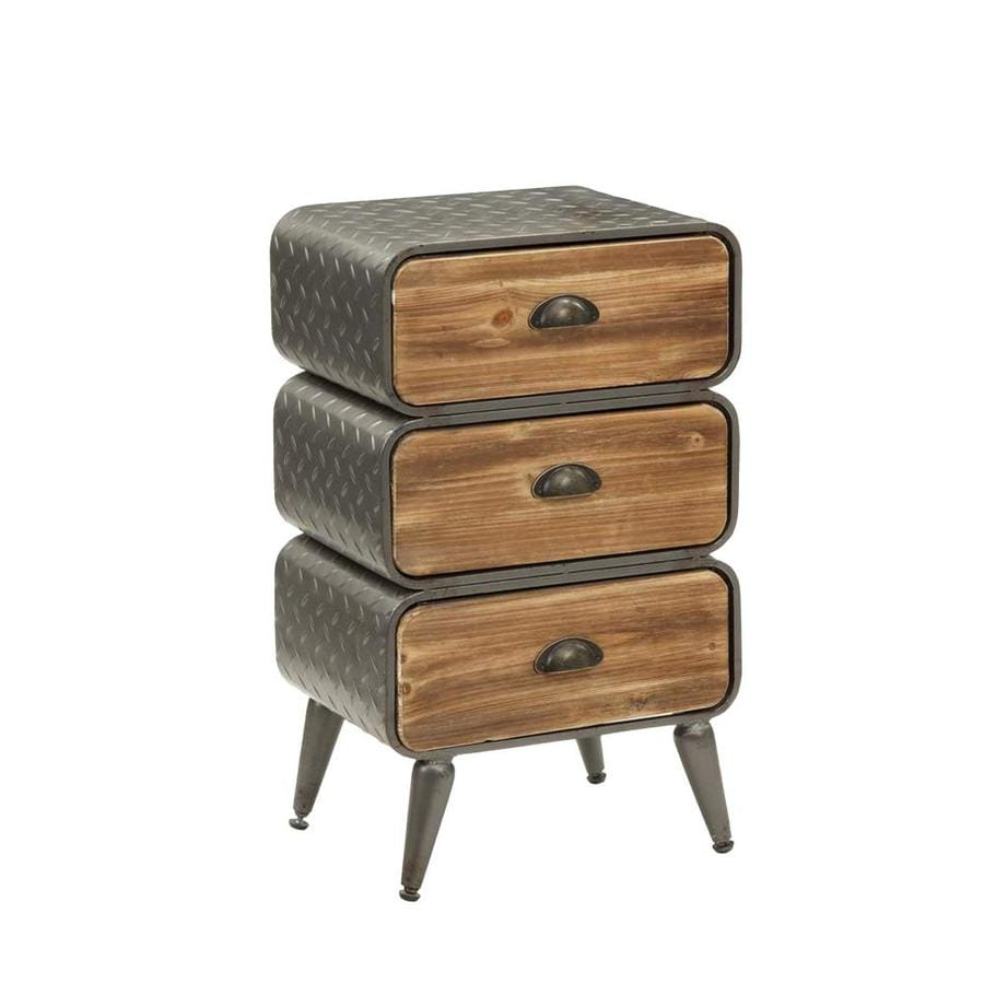 Benzara 3 Drawer Metal Frame Accent Storage Chest With Splayed Legs In The Chests Department At Lowes Com