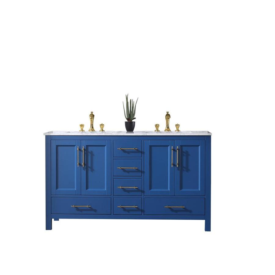 Eviva Navy 60 In Blue Undermount Double Sink Bathroom Vanity With White Marble Top In The Bathroom Vanities With Tops Department At Lowes Com