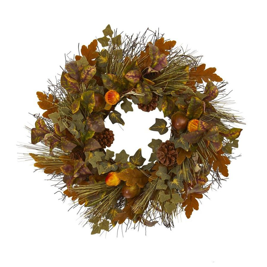 Nearly Natural 23 In Mixed Fall Leaf Pinecone And Acorn Artificial Wreath In The Fall Wreaths Garland Department At Lowes Com