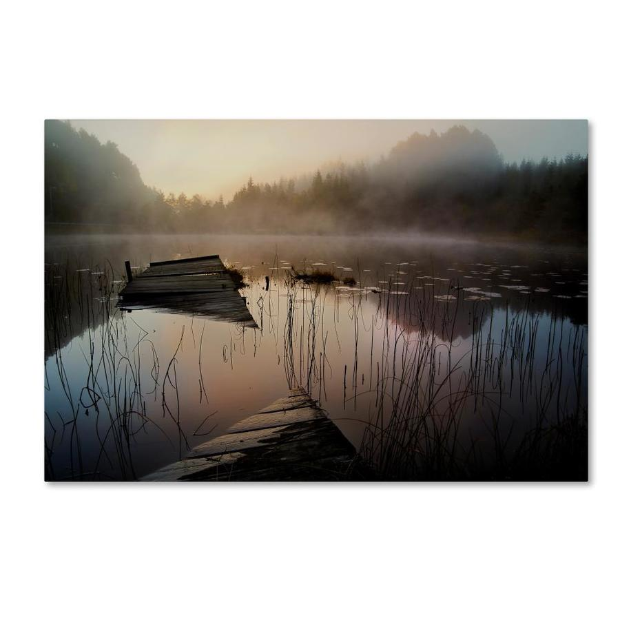 Trademark Fine Art Willy Marthinussen In The Misty Morning Canvas Art Willy Marthinussen 16x24 Canvas Art In The Wall Art Department At Lowes Com