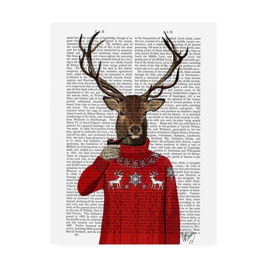 Trademark Fine Art Fab Funky Deer In Ski Sweater 35x47 Canvas Art In The Wall Art Department At Lowes Com