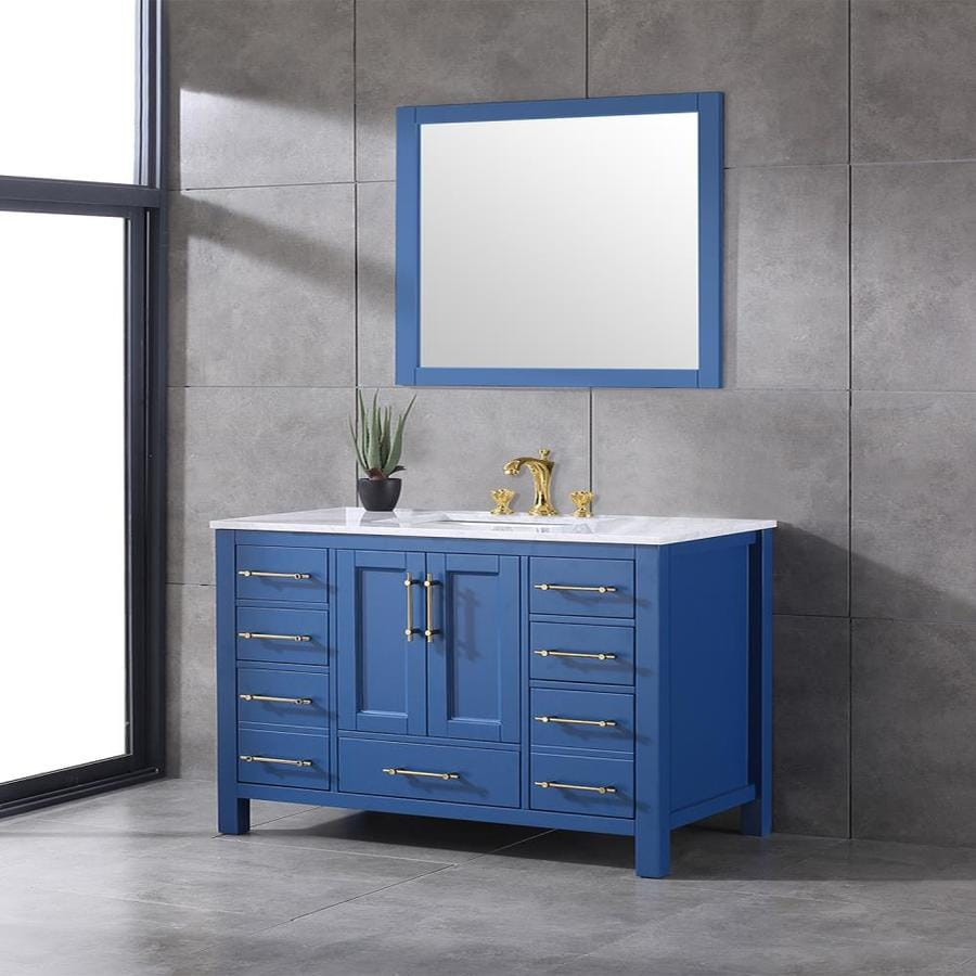 Eviva Eviva Navy 48 In Deep Blue Bathroom Vanity With White Carrara Counter Top And White Undermount Porcelain Sink In The Bathroom Vanities With Tops Department At Lowes Com