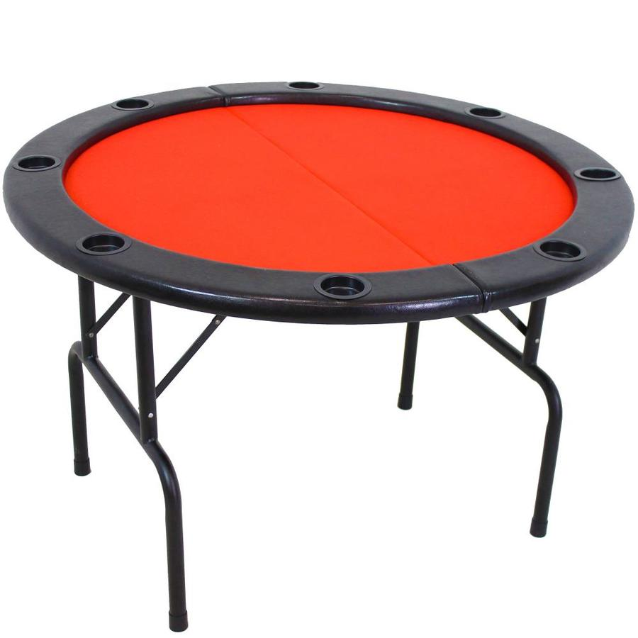 Sunnydaze Decor Folding Round Poker Table for 9 Players with Cushioned Rail  and Built-in Cup Holders 9-in Diameter