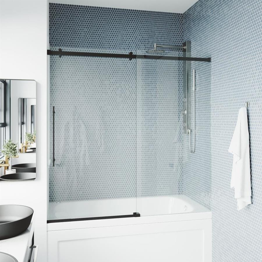 Vigo Luca 57 8125 In H X 56 In To 60 In W Frameless Bypass Sliding Matte Black Shower Door Clear Glass In The Shower Doors Department At Lowes Com