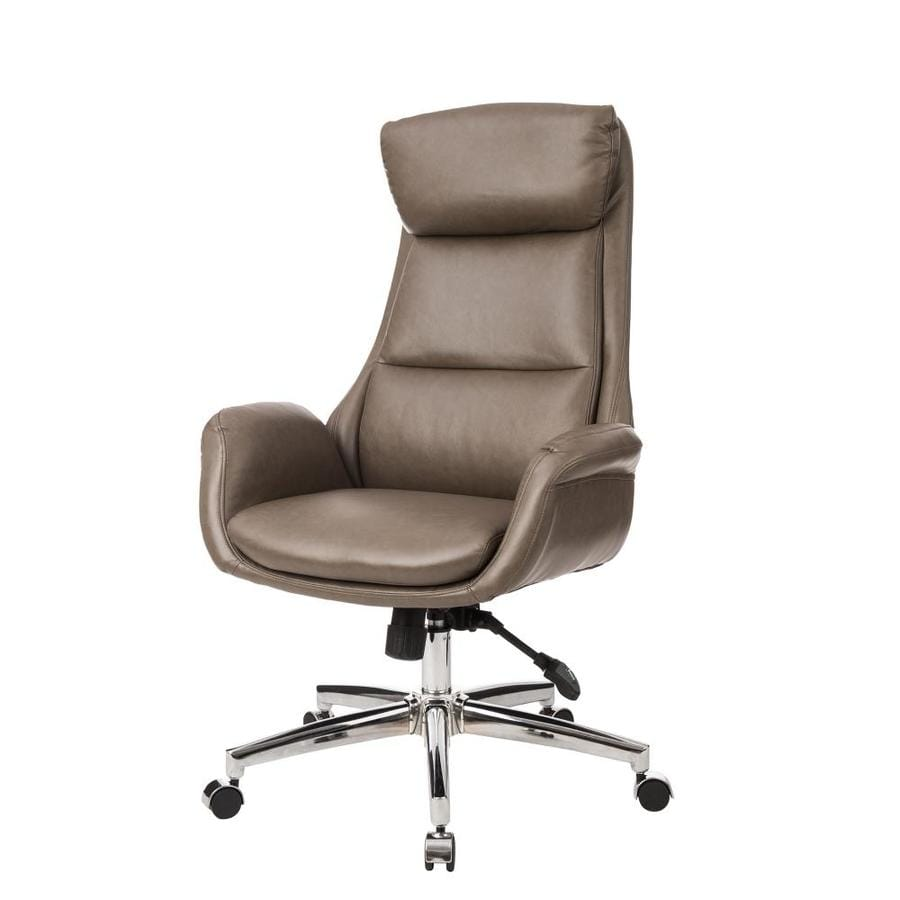 Glitzhome Mid Century Modern Brownish Grey Leatherette Adjustable Swivel High Back Office Chair In The Office Chairs Department At Lowes Com